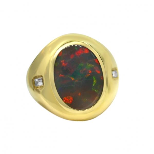 Men's Lightning Ridge 8.67 Carat Opal 18K Yellow Gold Ring with Diamond Accents